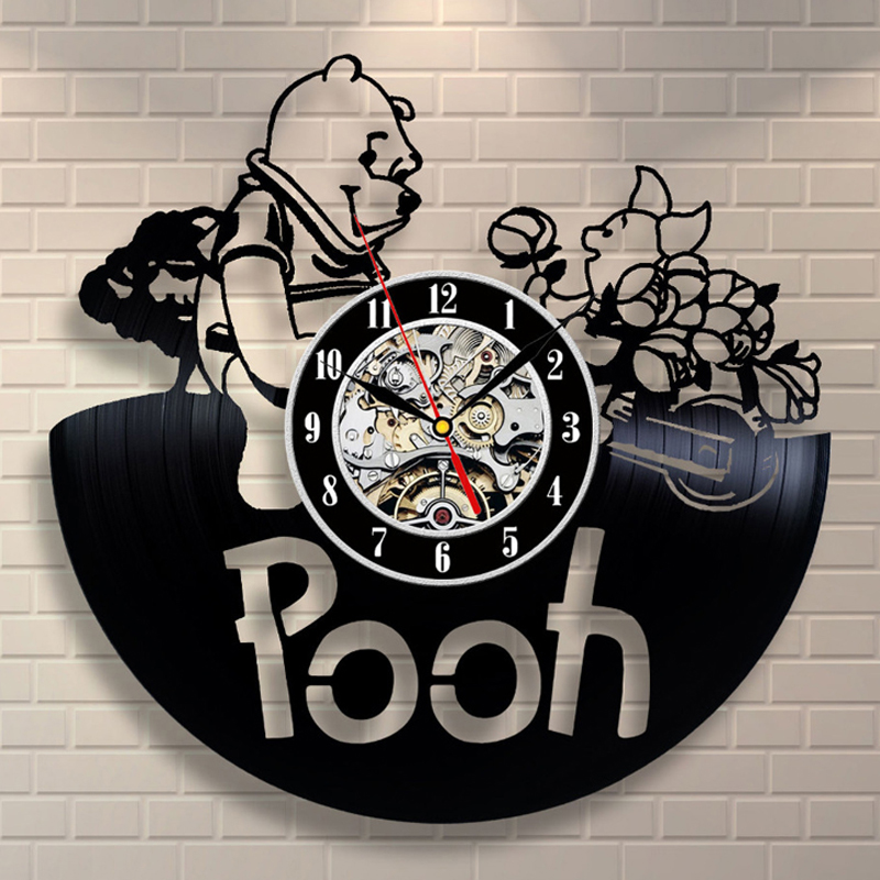 3D Vinyl Record Wall Clock Modern Design Winnie The Pooh Cartoon Clock Decorative Kids Room Wall Watch Home Decor Gifts For Kids