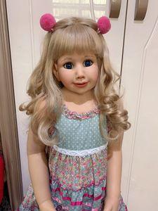 Image 4 - 100CM Hard vinyl toddler princess blonde girl doll toy like real 3 year old size child clothing photo model dress up doll
