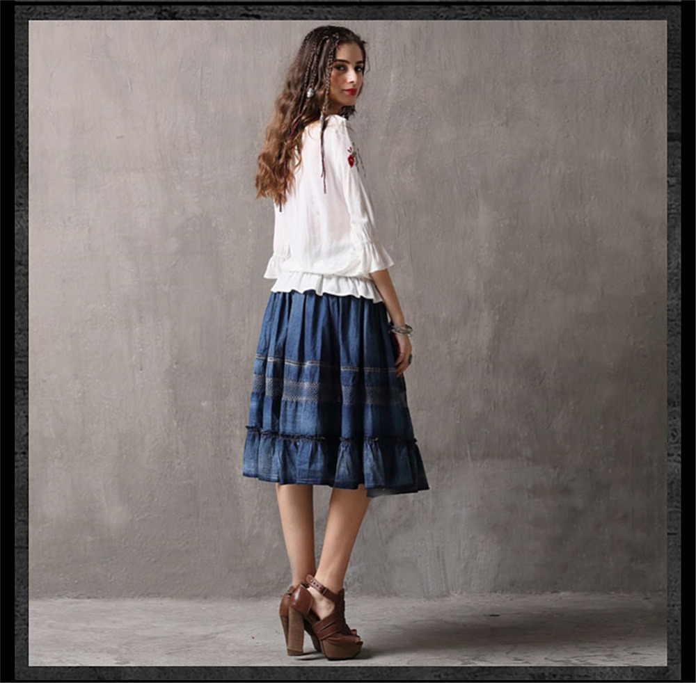 Spring 100% Cotton Women Loose Blouses Shirts 2020 Vintage Blusas O-Neck Flare Sleeve Floral Embroidery White Women`s Shirt 9260 (14)