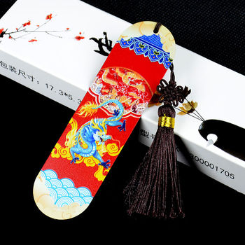 Creative Chinese Style Bookmark Ancient Style Classical Bookmark Gift Box Large Red Bookmark Metal Bookmark фото