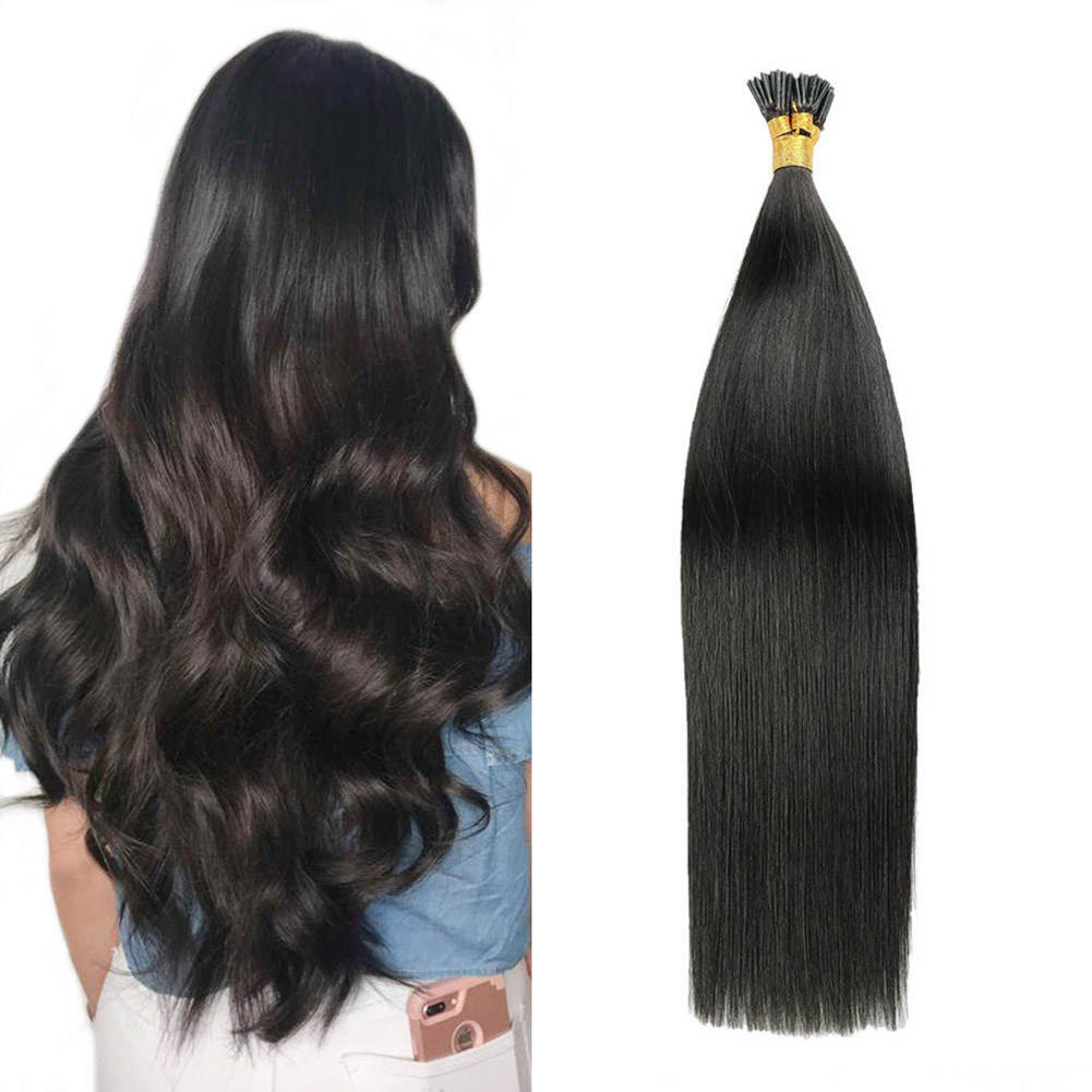 Gazfairy 16 Inch 1g/strand 50g 80g I Tip Human Hair Extensions Fusion Keratin Bond Natural Color Straight Remy Pre Bonded Hair