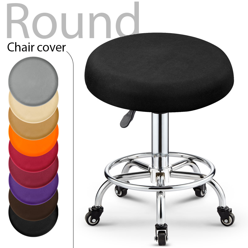 1 Piece Polyester Fabric Round Chair Cover Waterproof Dining Seat Chair Covers Hotel Banquet Seat Covers Chair Protector