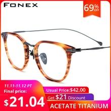 FONEX Pure B Titanium Optical Glasses Frame Men Vintage Prescription Eyeglasses Women Retro Round Myopia Spectacles Eyewear 839