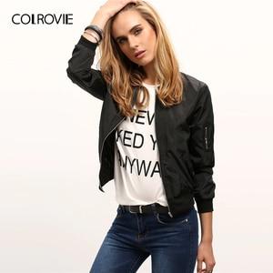 Image 1 - COLROVIE Black Stand Collar Zipper Crop Jacket Women 2019 Fall Streetwear Fashion Bomber Jackets Ladies Solid Outerwear