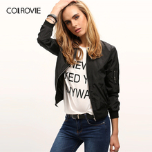 COLROVIE Preto Gola Zipper Mulheres Jaqueta Safra 2019 Queda Streetwear Jaquetas Bomber Moda Senhoras Outerwear Sólida