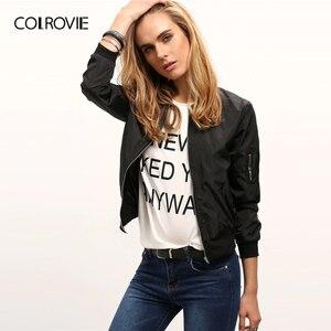 Image 1 - Colrovie 블랙 스탠드 칼라 지퍼 자르기 자켓 여성 2019 가을 streetwear 패션 폭격기 자켓 숙녀 솔리드 겉옷