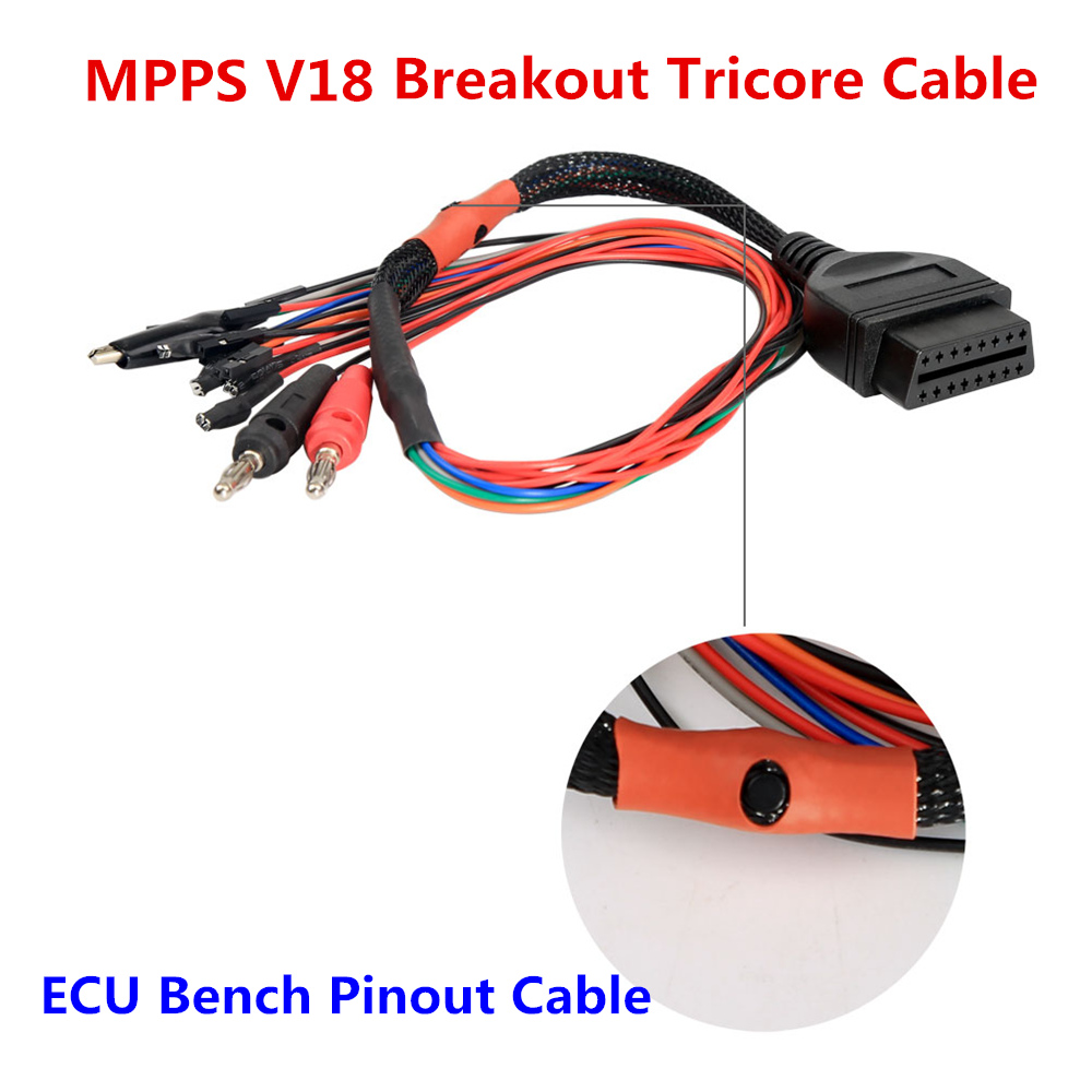 Lowest Price MPPS V21 Breakout Tricore Cable MPPS V18 12 3 8 ECU Chip Tuning better than V18 OBD Breakout ECU Bench Pinout Cable