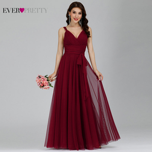 Image 3 - Prom Long Elegant Dresses Ever Pretty EP07303 V neck Sleeveless A line Tulle Teal Prom Dresses 2020 Pink Sexy Vestido Formatura