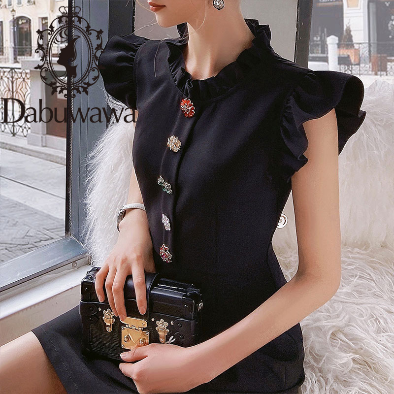 Dabuwawa Exclusive Vintage Black Summer Dress Women Sleeveless Single Breasted A-Line Ruffle Neck Elegant Dress Ladies DO1BDR003