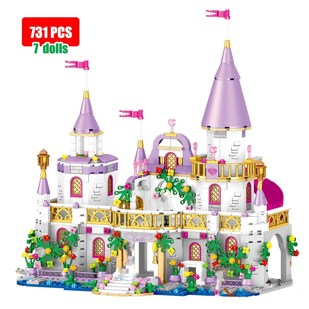 Girls Friends Modern Princess's Castle Luxury Magical House Model Set with Dolls Building Blocks DIY Toys for Kids 731PCS Bricks