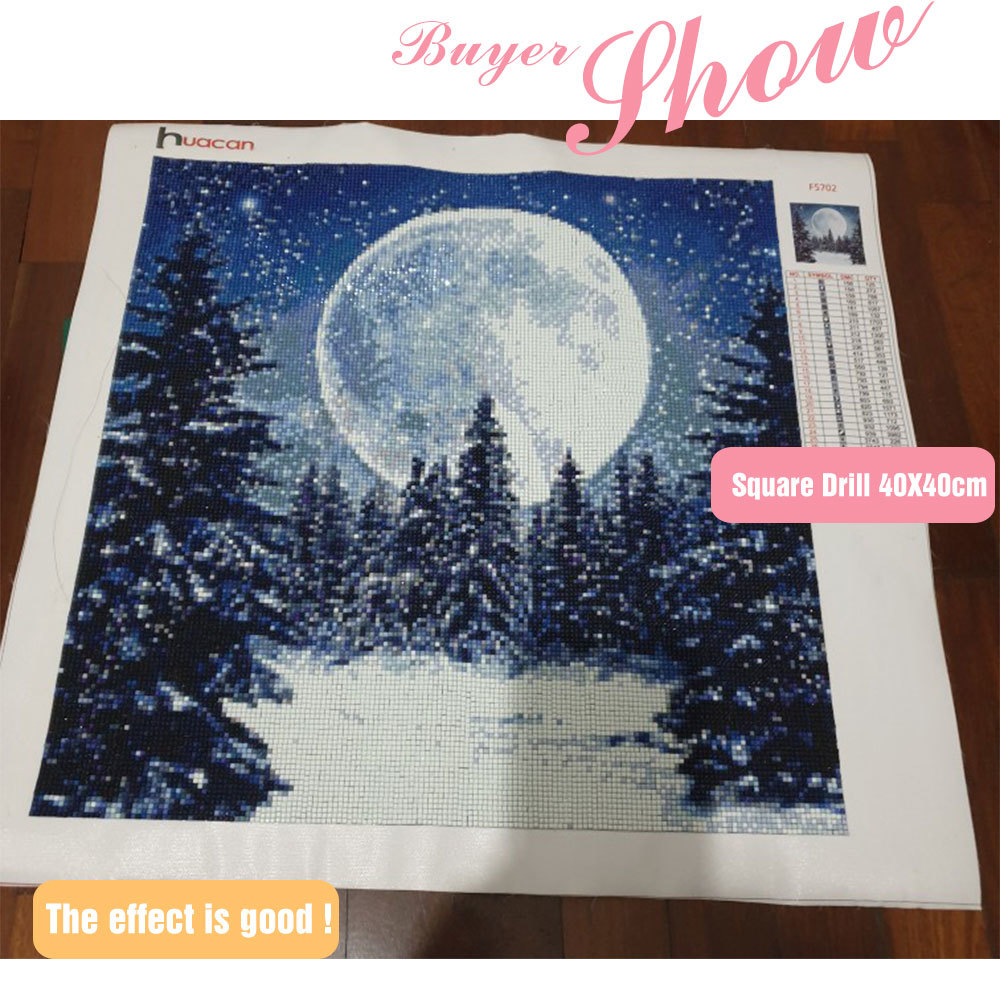 HUACAN Diamond Embroidery Snow Landscape Winter Full Square Drill Picture Of Rhinestone Mosaic Decoration Paint With Diamond