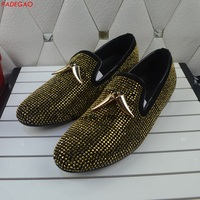 New Style Gold Crystals Rhinestone Men Shoes Luxury Diamond Party Wedding Flat Shoes Slip on men's loafers