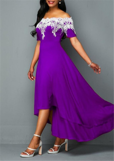 Elegant Sexy Plus Size 5xl one-shoulder lace Irregular Backless Party Dress 4