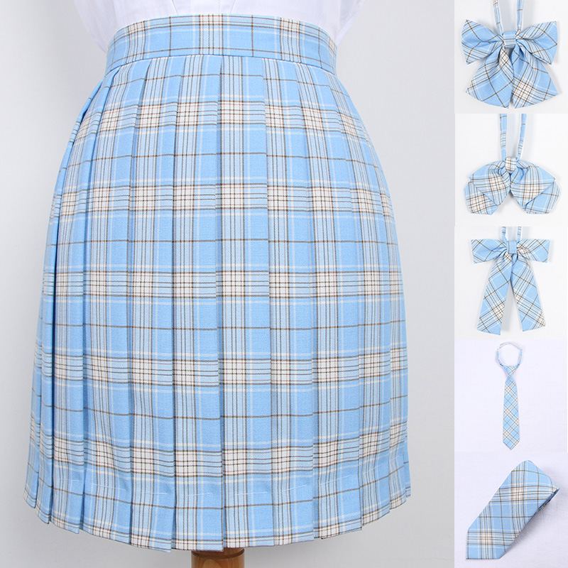 School Dresses Japanese Korean Version Short Skirts Girl Sky Blue Pleated Skirt School Uniform Cosplay Mini Sailor Suit Skirts
