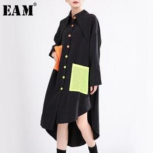 [EAM] Women Pocket Contrast Color Big Size Blouse New Lapel Long Sleeve Loose Fit Shirt Fashion Tide Spring Autumn 2020 1T059