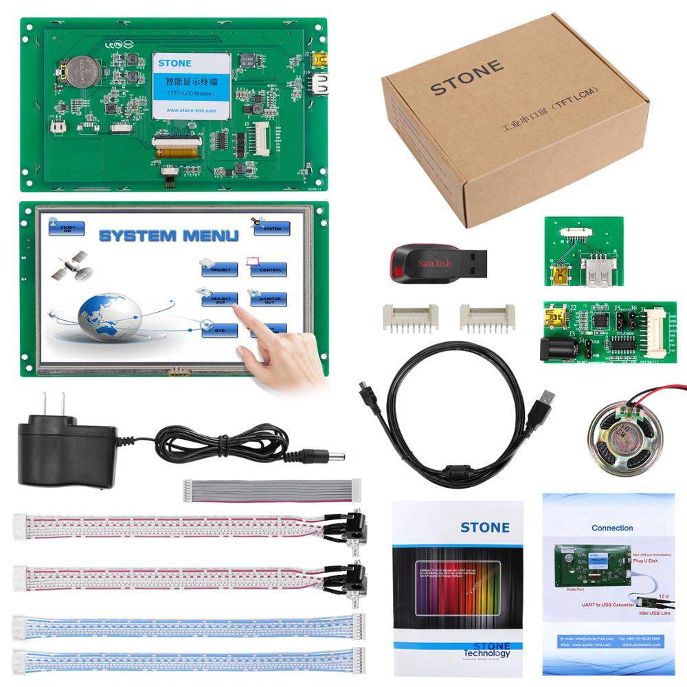 MCU Interface Touch Controller Indusrial HMI LCD TFT Display 7.0 inch with Program + Software