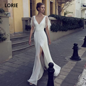LORIE Chiffon Wedding Dress Mermaid Vintage 2020 V-neck Cap Sleeve Bridal Wedding Gown with High Slit Floor Length Plus Size v neck slit sleeve high low blouse