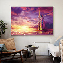 Sunset canvas paint World City Landscape Prints, Sailboat, Dubai, Hotel, Nordic Style Wall Poster, Home Decor,For Living Room