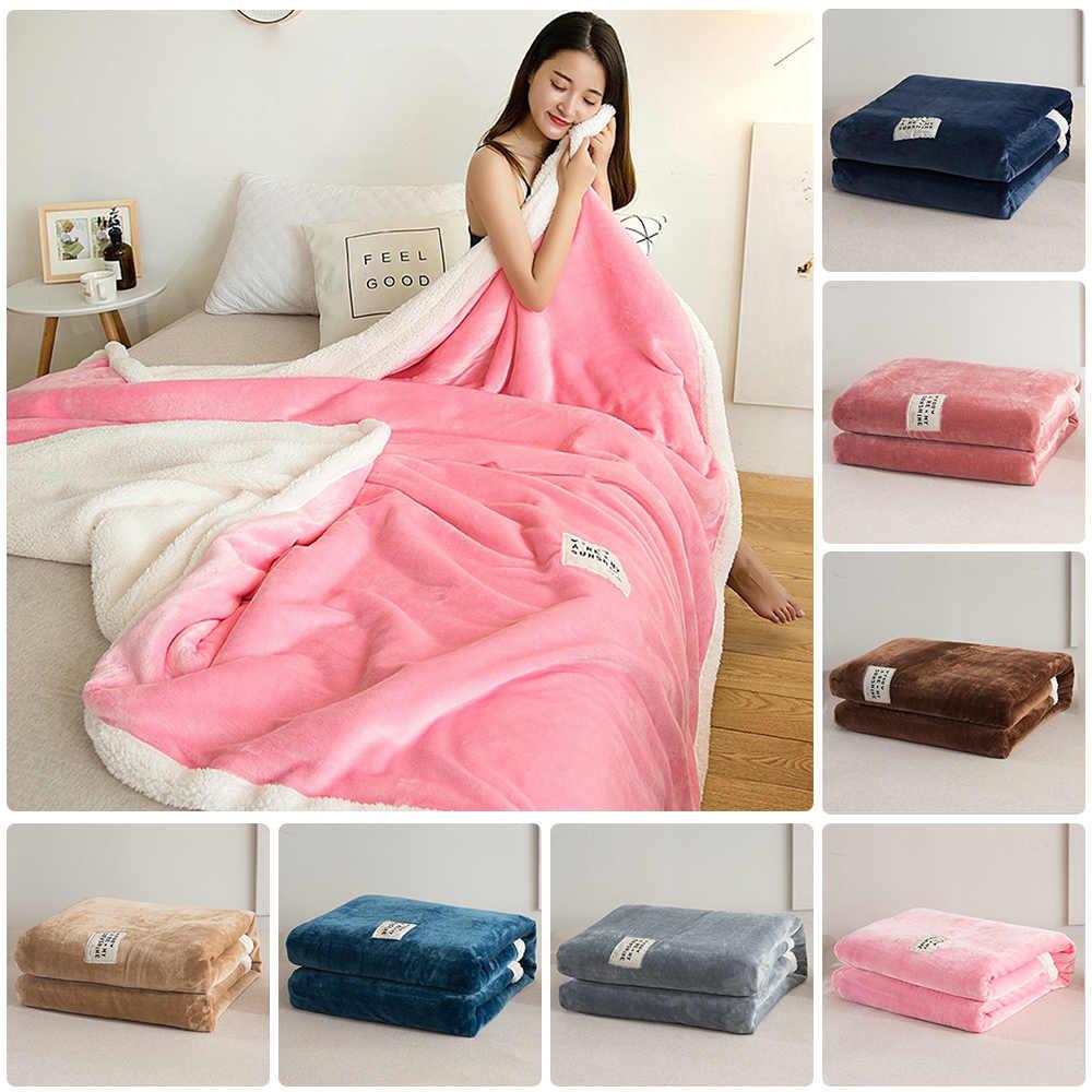 Фланелевое одеяло, зимнее двойное кашемировое одеяло из ягненка, кровать, диван, теплое шерстяное одеяло, простыня, покрывало, переносное, покрывало для путешествий, одеяло