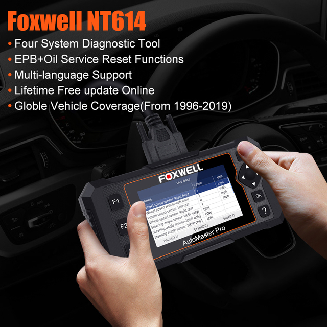 FOXWELL NT614 Elite OBD OBD2 Scanner Four System EPB Oil Service Reset OBDII Automotive Scanner Professional Car Diagnostic Tool