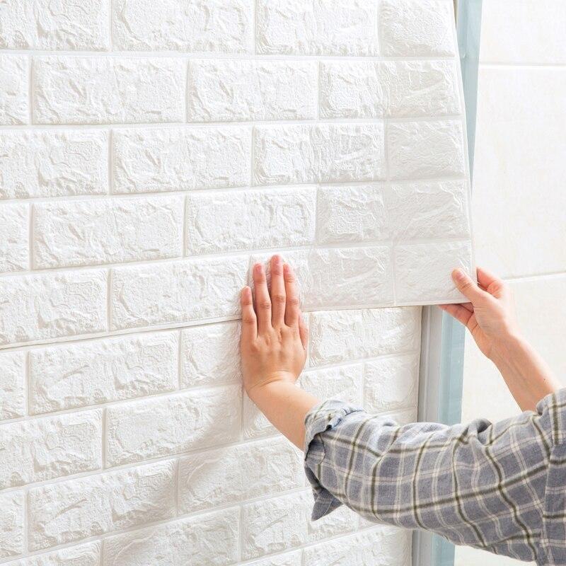 Купить с кэшбэком Self Adhesive 3D Wall Sticker Kids Room Waterproof Background Brick Pattern Wallpaper Mural Living Room Bedroom DIY Foam Sticker