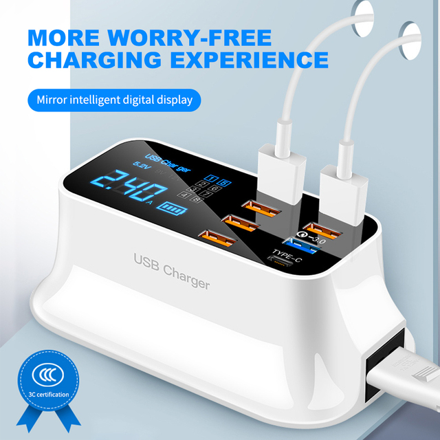 شحن سريع 3.0 الذكية USB نوع C شاحن الهاتف USB شاحن سريع شحن سطح المكتب المقبس محول محطة Led عرض آيفون