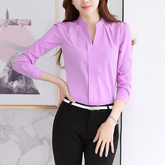Women Brief Office Work Wear V Neck Shirts Long Sleeve Casual Tops Blouse white shirt women womens blouses and tops High quality 6