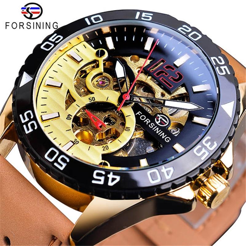 FORSINING Men Fashion Sport Watch Automatic Skeleton Black Luminous Clock Leather Male Mechanical Wristwatches Horloges Mannen