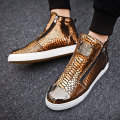 2021 Hot Fashion Western Style Golden Slip-on High top Sneakers Men Spring Zipper Streetwear Platform Men Shoes Casual Sneakers