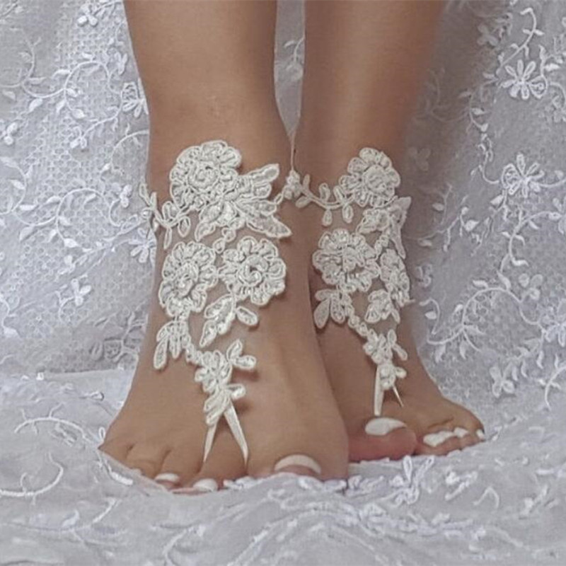 In Stock Wedding Shoes For Women White Ivory Lace Appliques Beach Bridal Accessories 2020 Open Toe Bridal Shoe With Pearls