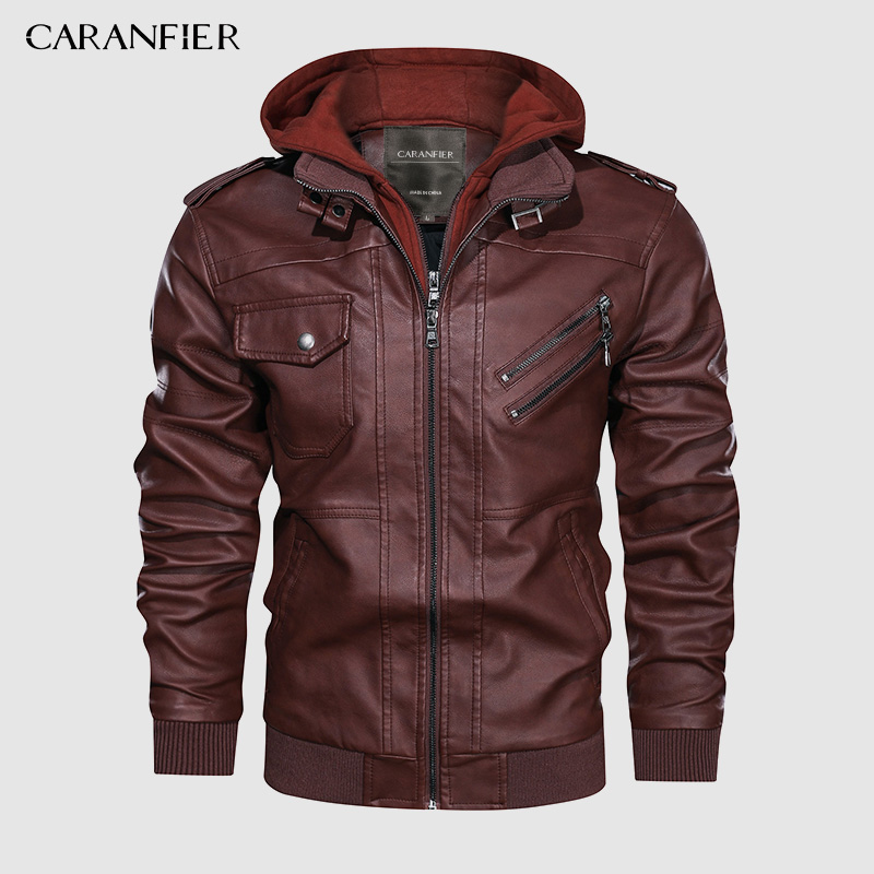 CARANFEIR Brand Vintage Hooded Leather Leather Jacket  Mens New Style Clothes Fashion Motor Biker Leather Jackets Dropshipping