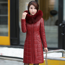 Sheepskin Coat Jacket Women Long Warm Fur Winter Hooded Outerwear Thicken Female Plus-Size