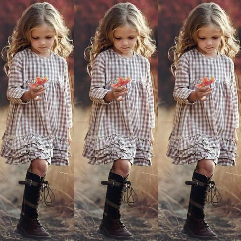 2019 kızlar INS ekose moda elbise büyük çocuklar sonbahar uzun kollu prenses dantel elbiseler çocuk 3-12Y Ruffled elbise elbise