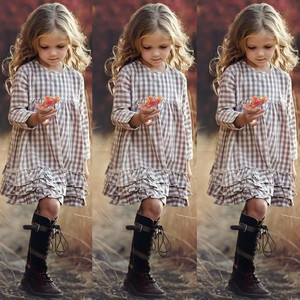 2020 Girls INS Plaid Fashion Dress Big Kids Autumn Long Sleeve Princess Lace Dresses Children's 3-12Y Ruffled Clothes Dress
