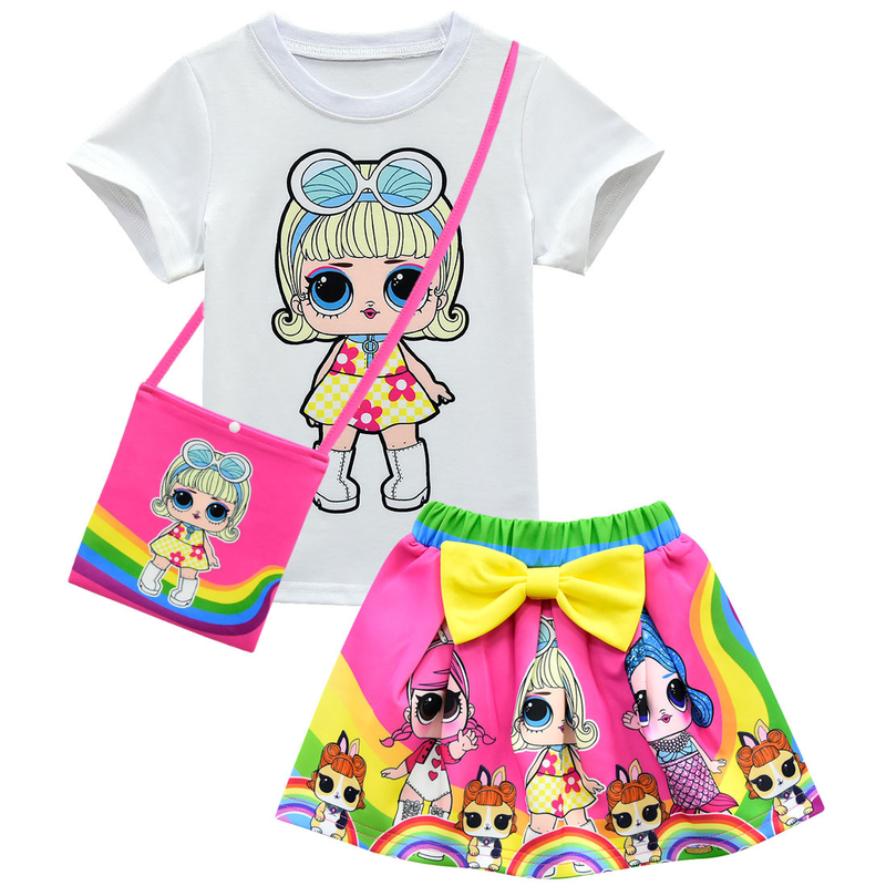 Girls Birthday Party L.O.L Dress <font><b>Tshirt</b></font> Skirt Bag Hat Gloves Suit Girls Clothing L.O.L <font><b>Set</b></font> <font><b>Baby</b></font> Kids Toddler Girls <font><b>Set</b></font> Clothes image