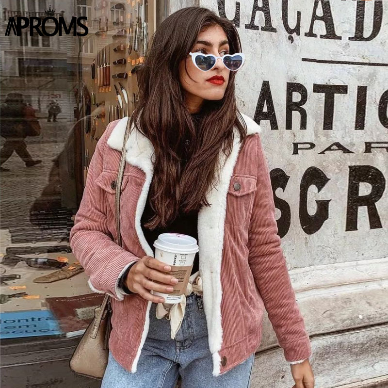 Aproms Pink Corduroy Warm   Jacket   Women Winter Casual Lambswool   Basic     Jackets   Female Parka Girls Outerwear Sherpa Coats 2019