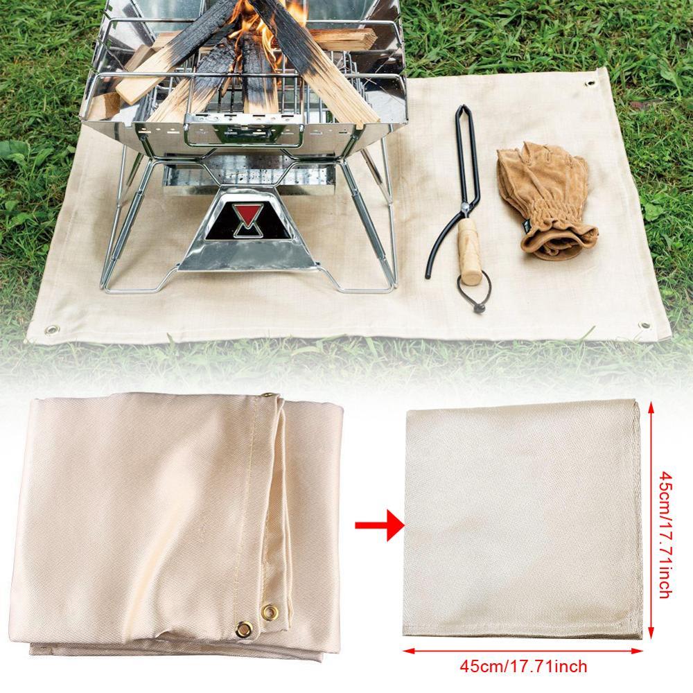 45*45cm Grill Feuer Decke Glas Faser Isolierung Matte Im Freien Camping Feuer Tuch Hohe Temperatur Anti-Verbrühen flammschutzmittel
