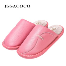 ISSACOCO Women Slippers Indoor Leather Winter Waterproof Warm Home Shoes Woman Ladies Terlik