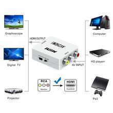 Mini Composite CVBS na HDMI AV2HDMI konwerter Audio RCA/AV na HDMI Adapter z gniazda męskiego na żeńskie konwerter skrzynka z przełącznikami 720P 1080P