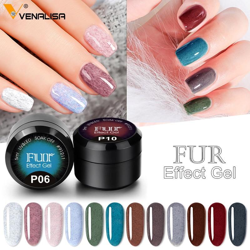 2020 New Arrival Venalisa Faux Fur Gel Polish Luxury Fur Effect Nail Gel Long Wear Soak Off UV LED Nail Lacquer Manicure