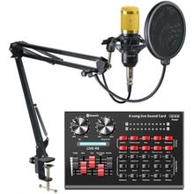 Microphone professionnel à condensateur BM 800, avec carte son R8 BM800, pour ordinateur, enregistrement, Podcast, TikTok