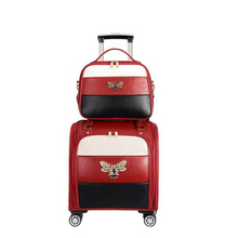"""CARRYLOVE 1"""" 18"""" дюймов для женщин носить кожаный чемодан набор Спиннер маленькая милая каюта прокатки багаж для леди"""