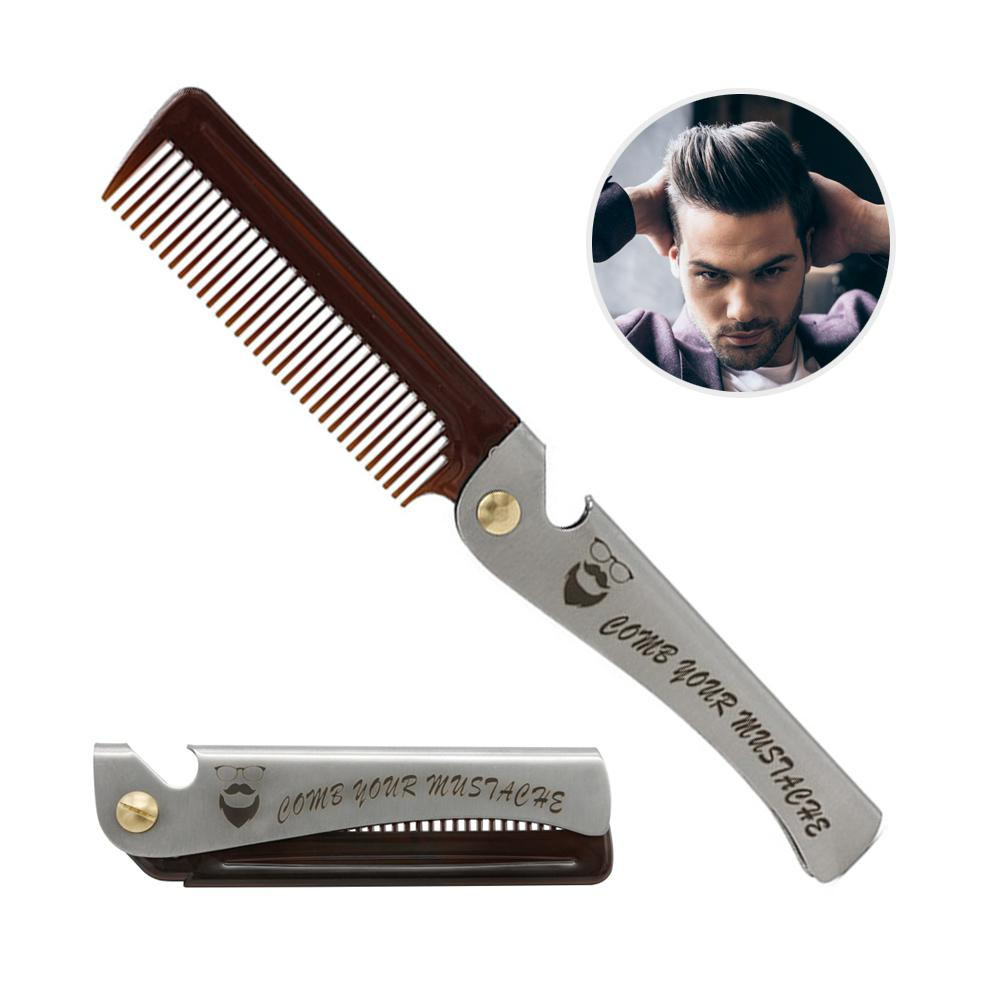 Stainless Steel Folding Comb Travel Portable Pocket Hair Beard Metal Comb
