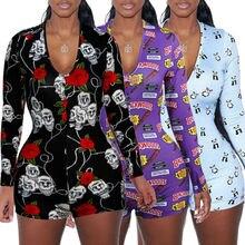 Sexy Women V-neck Animal Print Bodycon Sleepwear Jumpsuit Button Bodysuit Shorts