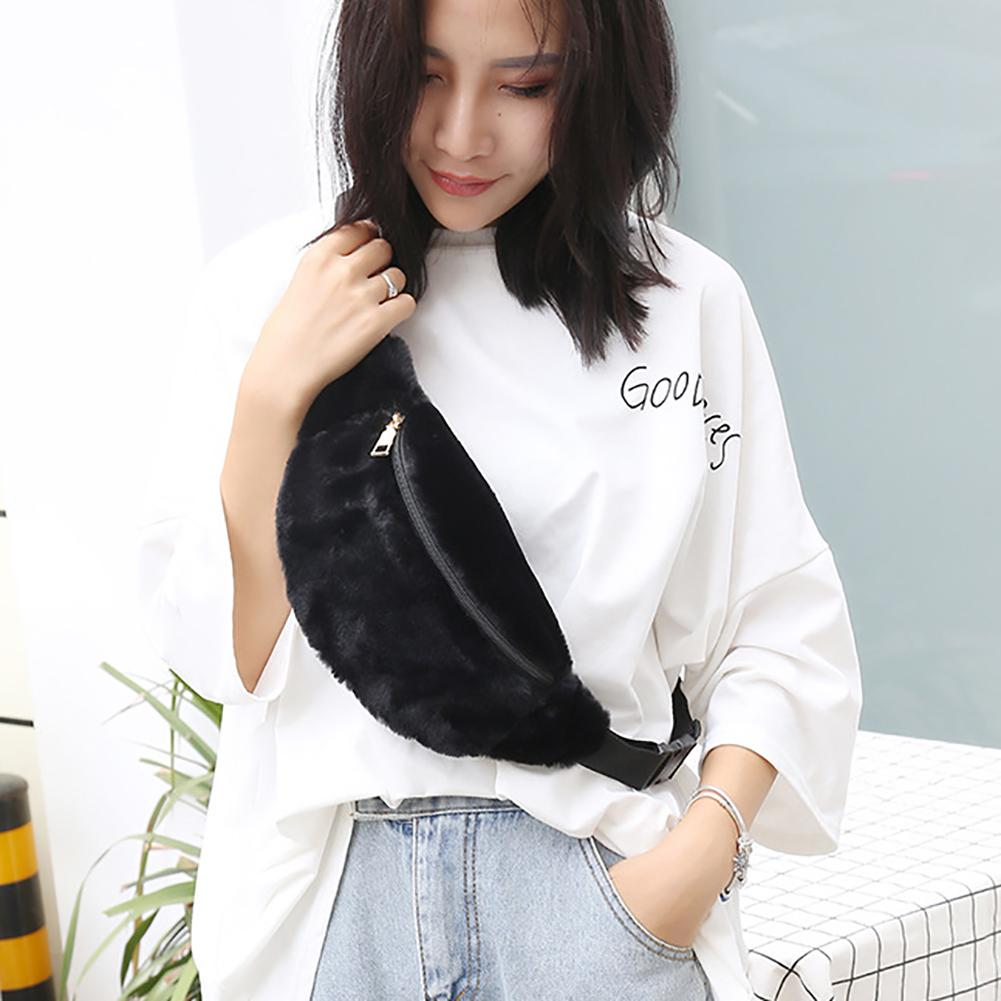 Women Plush Fluffy Waist Bag Winter Coin Phone Holder Pouch Chest Fanny Pack