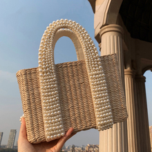 Beaded Pearls Beach Straw Bags Women Handbag Tote Bag Ladies Crystal Crossbody Bags For Woman Large Capacity Pearls Party Clutch все цены