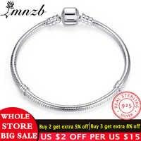 LMNZB 95% de descuento gran venta auténtico 100% Plata de Ley 925 Cadena de serpiente brazalete y pulsera de lujo joyería 16-23CM mujeres regalo HB005