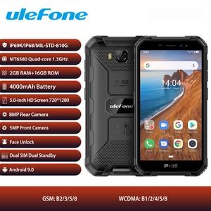 3g глобальная версия Ulefone Armor X6 Android 9 смартфон 2 Гб 16 Гб IP68 Водонепроницаемый MT6580 Восьмиядерный телефон с разблокировкой лица 4000 мАч