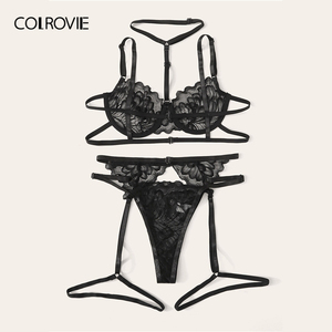 Image 3 - COLROVIE Floral Lace Underwire Garter Lingerie Set Women Underwire Intimates 2019 Solid Sexy Sets Bra And Thongs Underwear Set
