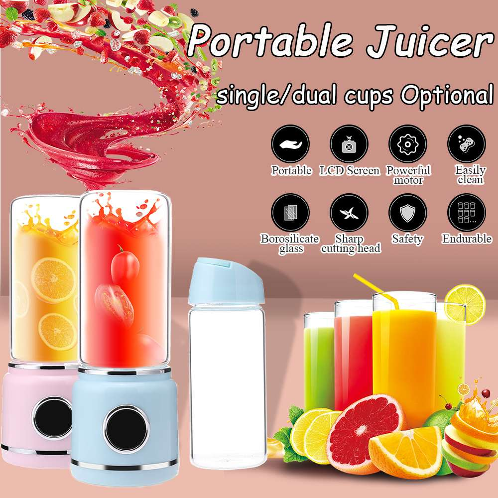 Double Cups LED Mini USB Portable Multi-function Electric Cup Juicer Home Mixer Small Licuadora Juices Smoothie Blenders Machine